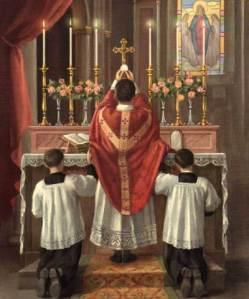 Consecratie van de hostie tijdens de Heilige Mis